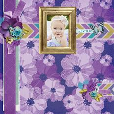 """Evelyn"" digital scrapbook layout by Andrea Hutton"