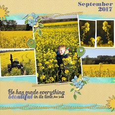 """September 2017"" digital scrapbook layout features Scrap It Monthly Collection Biggie"