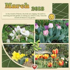 """March 2018"" digital scrapbook layout features Scrap It Monthly Collection Biggie"
