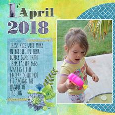 """1st April 2018"" digital scrapbook layout showcases Scrap It Monthly Collection Biggie"