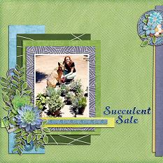 """Succulent Sale"" digital scrapbook layout showcases Scrap It Monthly Collection Biggie"