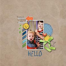 """Hello"" digital scrapbook layout showcases Scrap It Monthly Collection Biggie"