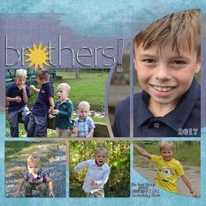 """Brothers"" digital scrapbook layout features Scrap It Monthly Word Art and Alpha Biggie"