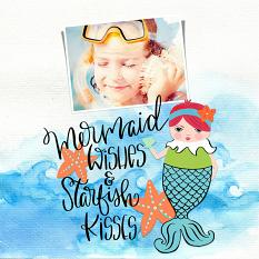 Scrapbook layout created with Mermaid Kisses Embellishment Templates and Clip Art