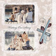 """Writing Our Story"" digital scrapbook layout by Judy Webster"