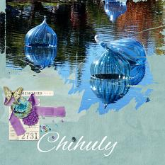 """Chihuly"" digital scrapbook layout by Sondra Cook"