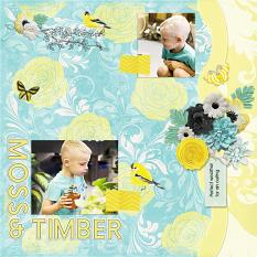 """""""Moss & Timber"""" digital scrapbook layout by Andrea Hutton"""