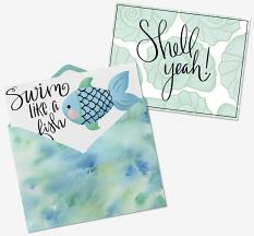 Card made with Shell Yeah Embellishment Templates and Clip art