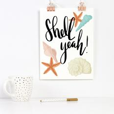 Printable made with Shell Yeah Embellishment Templates and Clip art