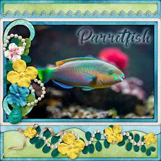 Parrotfish digital scrapbook layout by Laura Louie