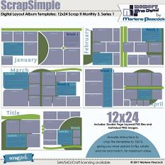 ScrapSimple Digital Layout Templates: 12x24 Scrap It Monthly 3 Series 1