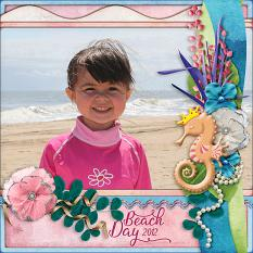 Beach Day digital scrapbook layout by Laura Louie
