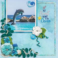 My Heart Belongs to the Ocean digital scrapbook layout by Laura Louie