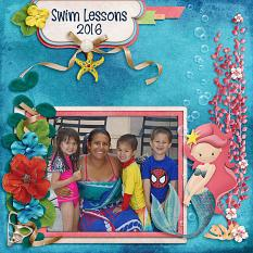 Swim Lessons digital scrapbook layout by Laura Louie