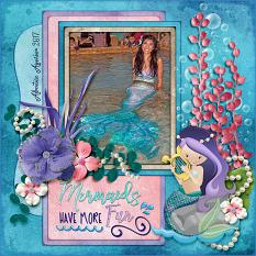 Mermaids Have More Fun digital scrapbook layout by Laura Louie