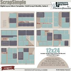 ScrapSimple Digital Layout Templates: 12x24 Scrap It Monthly 1 Series 2