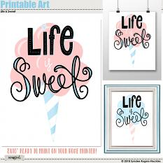 Life is Sweet cotton candy printable wall art