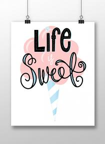 Life is Sweet cotton candy printable wall decor
