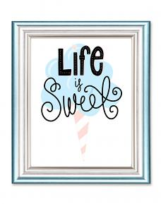 Life is Sweet cotton candy printable framed art