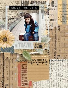 layout using ScrapSimple Embellishment template : Carnet De Voyage Clipping Mask by Florju designs