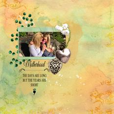 Layout made by Marie Orsini using kits in the series To My Mother by Aftermidnight Design