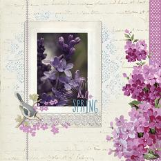 """Hello Spring"" digital scrapbook layout by Sondra Cook"
