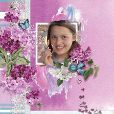 """Happiness"" digital scrapbook layout by Debby Leonard"