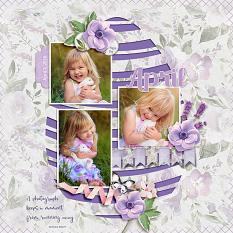 """April"" digital scrapbook layout by Judy Webster"