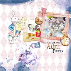 Layouts made by Marie Orsini using the kits in the Alice and friends series.