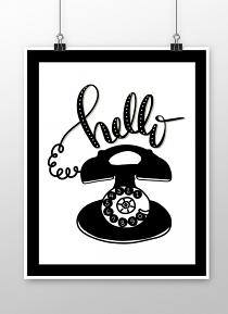 Poster made with Hello Vintage Phone Printable Art