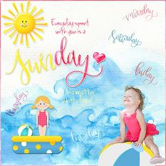 Scrapbook page using Sunshine Kids illustrations and templates