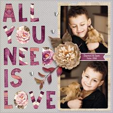 """All You Need Is Love"" digital scrapbook layout by Darryl Beers"