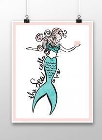 Poster created with Mermaid Wishes Printable Wall Art