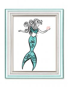 Framed print created with Mermaid Wishes Printable Wall Art