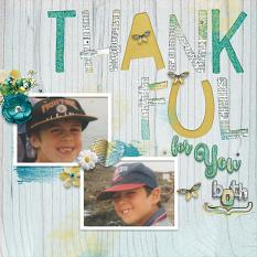 """Thankful for You Both"" digital scrapbook layout by Marie Hoorne"