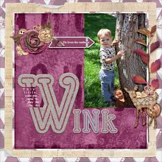 """Wink"" digital scrapbook layout by Andrea Hutton"