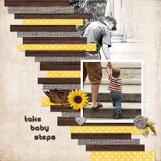 """Take Baby Steps"" digital scrapbook layout by Geraldine Touitou"