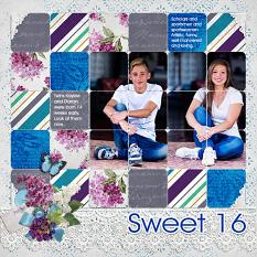 """Sweet 16"" digital scrapbook layout by Andrea Hutton"