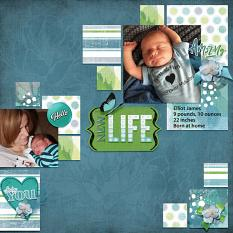 """Elliot James"" digital scrapbook layout by Sue Maravelas"