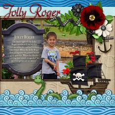 Jolly Roger digital scrapbook layout by Laura Louie