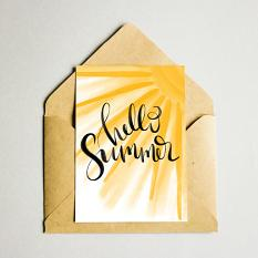 card created with Hello Summer hand lettered sayings templates