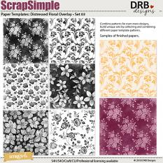 ScrapSimple Paper Template: Distressed Floral Overlays • Set 03 by DRB Designs | ScrapGirls.com