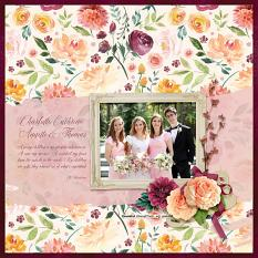 """Charlotte, Catherine, Annette & Thomas"" digital scrapbook layout by April Martell"