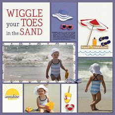 """Wiggle Your Toes"" digital scrapbook layout by Geraldine Touitou"