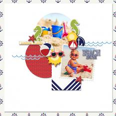"""Beach Bum"" digital scrapbook layout by Carmel Munro"