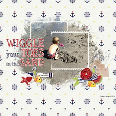 """Wiggle Your Toes"" digital scrapbook layout by Andrea Hutton"