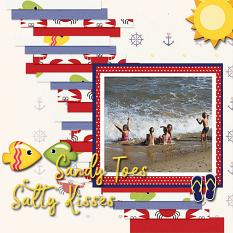 """Sandy Toes Salty Kisses"" digital scrapbook layout by Marie Hoorne"