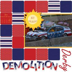 """Demolition Derby"" digital scrapbook layout by Debby Leonard"