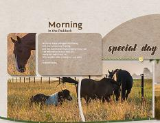 """Morning in the Paddock"" digital scrapbook layout features ScrapSimple Digital Layout Album Templates: 8.5x22 Scrap It Monthly 4 Series 2"