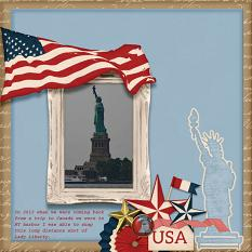 """Lady Liberty"" digital scrapbook layout by Debby Leonard"